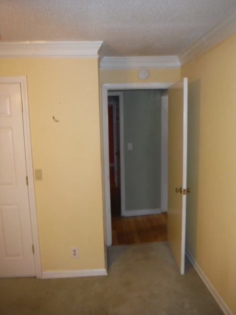 View from the second front bedroom -- roughly in the center of the house -- out to the hallway.
