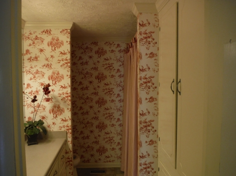 The master bathroom -- toile and stripes; pretty busy for such a tiny space!