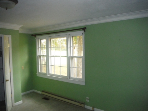 The front (master) bedroom; if you're looking at the cottage from the street it's on the right front side.